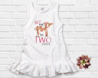 Second Birthday Girl Moo Moo I Am Two Dress Farm Birthday Dress Floral Cow Birthday Shirt Birthday Outfit Girl Little Farm Birthday