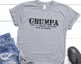Grumpa Like a Regular Grandpa Only Grumpier, Funny Grand Dad  Shirt, Gift for Grandpa, Fathers Day Gift, V Neck Shirts, Long Sleeves