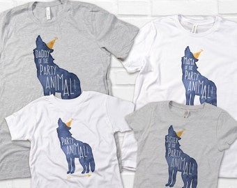 Party Animal Shirt, Wolf Birthday Shirt, Matching Family Shirts, Woodland Birthday Party, Mommy and Me,