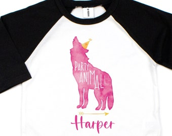 Party Animal Shirt, Boho Girls Birthday, Personalized Gift, Woodland Party, Girl's Lone Wolf Tee, Adventure Birthday, Boho Pink Wolf Party