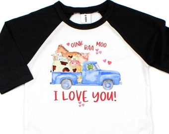 Valentines Day Shirt, Oink Baa Moo I Love You, Blue Truck, Girls Little Valentines Day Shirts, Gift for Him, Baseball Shirt, Long Sleeve