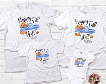 Blue Pumpkin Truck, Fall Pumpkin Shirt, Blue Truck Birthday, Custom Old Truck Shirt, Matching Family Autumn Shirts, Happy Fall Yall Mommy Me