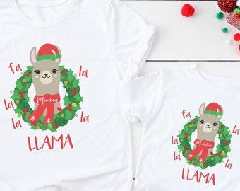 be89923cfe Family Christmas Shirts Fl La La La Llama Shirt Santa Llama Matching Family  Christmas Pajamas Mommy Me Pajama Matching Father Son Llama PJs