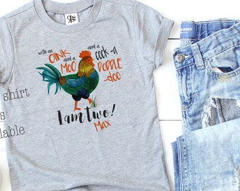 Farm Birthday, With an Oink and a Moo, Second Birthday, Cock a doodle do, 2nd Birthday, Chicken Rooster, PersonalizedOnesie®, Baseball Shirt