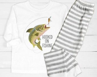 Hooked on Fishing Pajamas Birthday Pajama Set, Baby Layette, Boy Birthday Gift, Matching Sibling PJ's