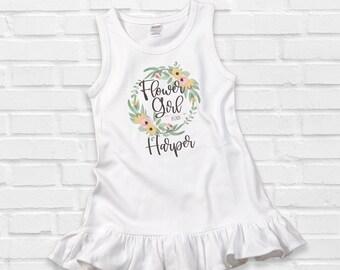 Flower Girl Dress, Personalized Flower Girl Gift, Wedding Rehearsal Outfit