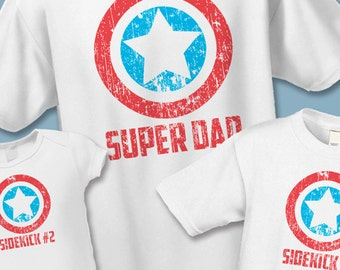 Super Dad and Sidekick Matching Shirts - Create a Father Son Matching Shirts - DISTRESSED GRAPHIC  - Father Daughter Shirts