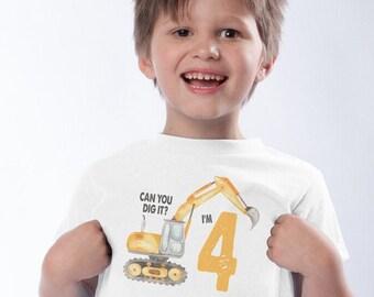 Digger Birthday Shirt, Can you dig it? Im 4, Bulldozer Shirt, Construction Birthday Shirt, 4th Birthday Baseball Shirt, Use any number