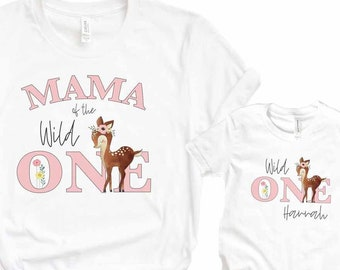 Wild One Shirt Set - Mama of the Wild One and Wild One Girl - Matching Shirt Set (Set of 2) - Wild One Birthday Girl - Mommy and Me Deer Tee