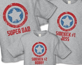 fc3e93371f571 Father's Day Shirt Set - Super Dad and Sidekick Shirts - Create a Matching  Father Son Daughter Set - Distressed Graphic, Super Mom Shirts