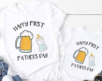 Happy First Fathers Day Baby Bottle and Beer Mug Matching Matching Daddy and Son Fathers Day Shirt Set (set of 2) Father Daughter Dad Gift