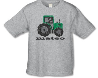 2nd Birthday Shirt Tractor Theme Party Distressed Graphic