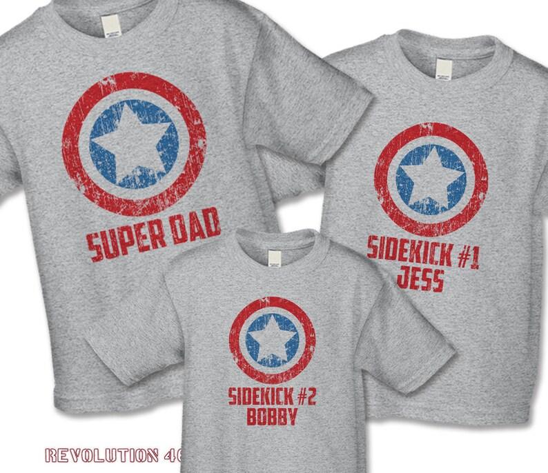 a26de61cb Father's Day Shirt Set Super Dad and Sidekick Shirts   Etsy