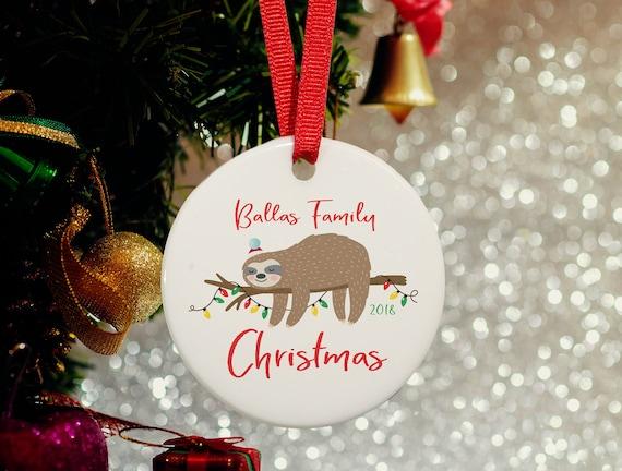 image 0 - Sloth Family Christmas OrnamentSleepy Sloth Personalized Etsy