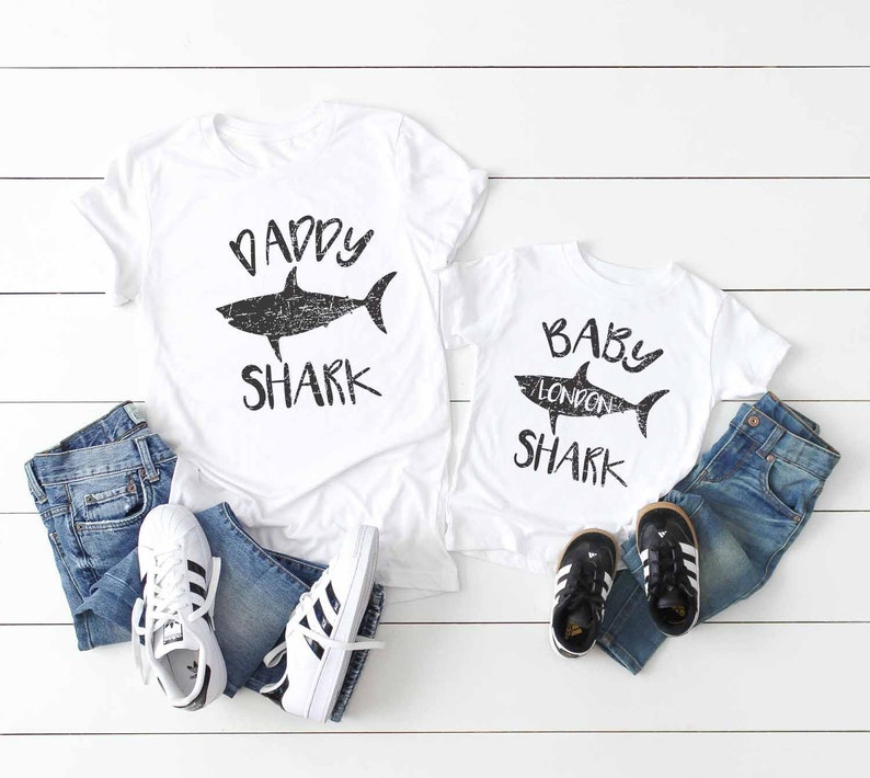 b34ad2aa2a73d Daddy and Baby Shark Shirts Matching Father Son Shirts set | Etsy