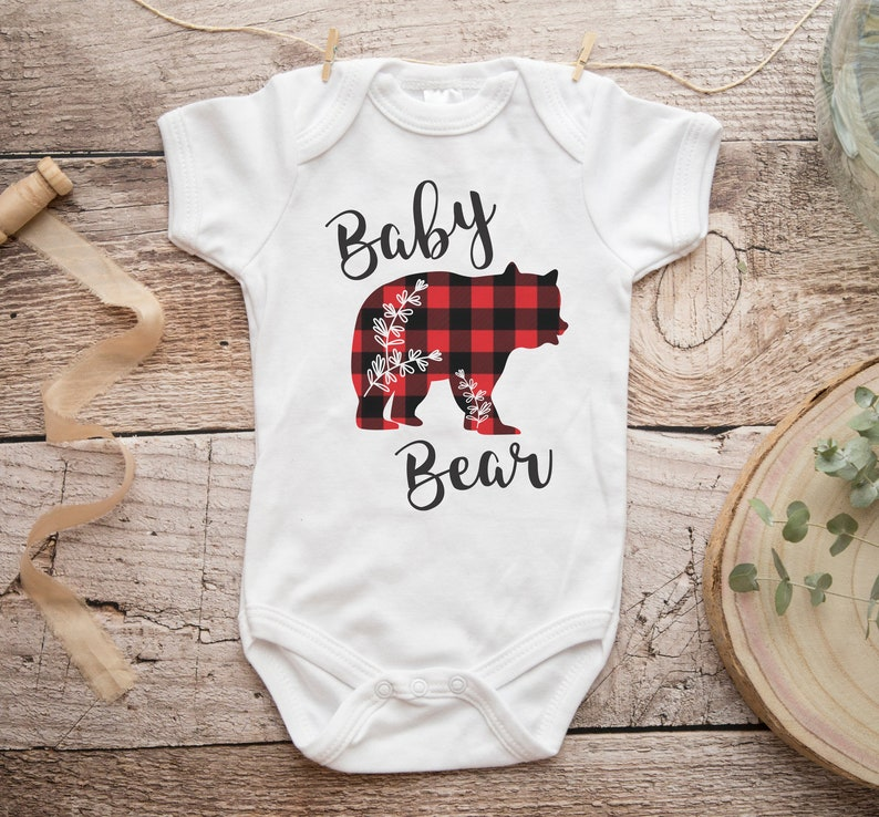 Red Buffalo Plaid Baby Shower Boho Baby Clothes Boho Gender Neutral Baby Baby Bear Onesie\u00ae New Baby Gift Bear Romper Take Home Outfit