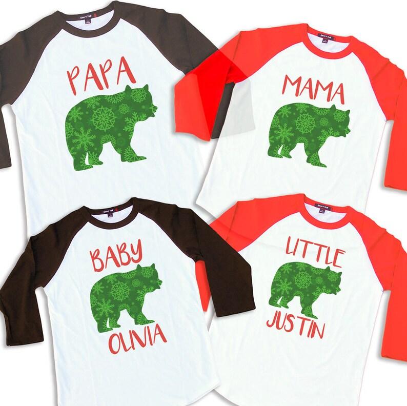 6740b7782f Family Christmas Pajama Modern Snowflake Christmas Bear Shirt