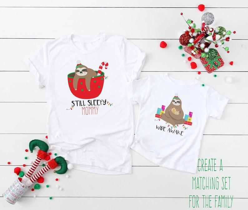 0a78d96f39 Family Christmas Shirts Sleepy Sloth Shirt Wide Awake Sloth