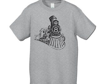 Birthday Shirt s - 8th  Birthday Train T-Shirt ( Distressed) Perfect for vintage train party-Choose your number - Personalize with your name