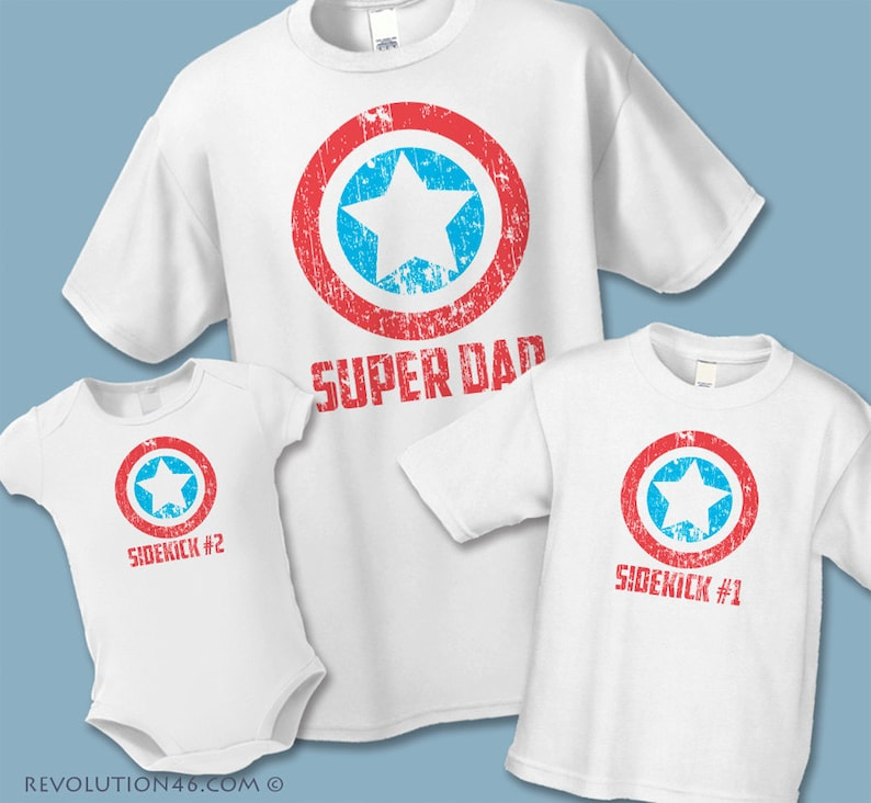0cc5ad449 Super Dad and Sidekick Shirts Personalized Gifts for Dad   Etsy