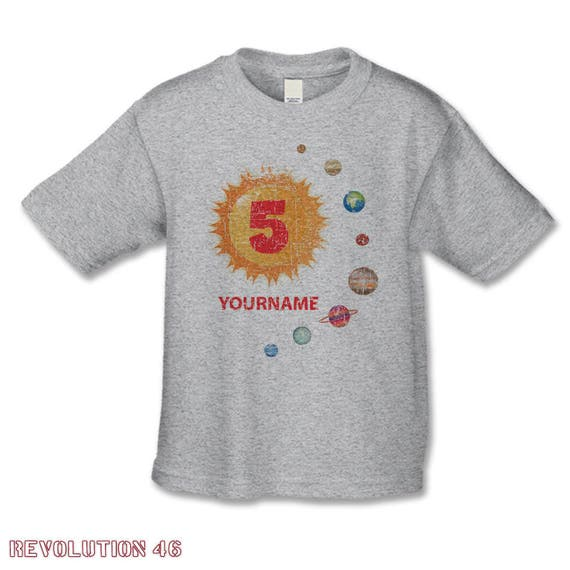 Solar System Birthday Shirt 5th Tee 1st 2nd 3rd 4th