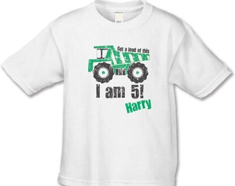 Get a load of this... I am 5!  Personalized 5th Birthday T-Shirt - Construction Theme Party - Dump-truck Birthday Party - Birthday Shirt