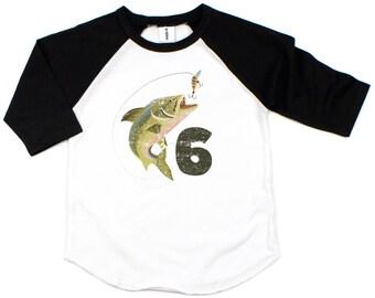 Custom Fishing Birthday Shirt for Fishing Birthday Party, Personalized Fishing Shirt, Birthday Boy Shirt 6, Long Sleeve and Baseball Shirt