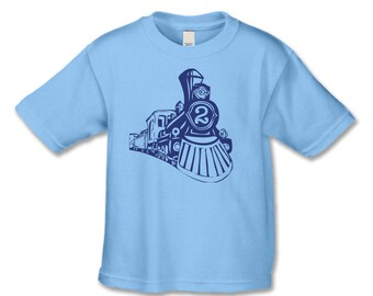 2nd Birthday Shirt - Birthday Train T-Shirt (Blue Ink) - Vintage Train Birthday Party  - Choose Your Number