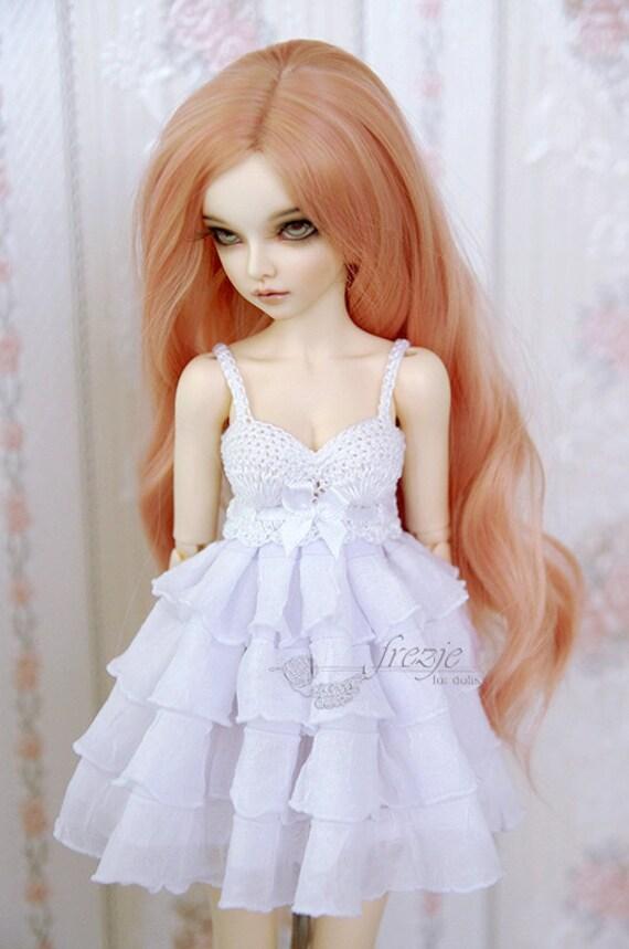 """White 1//3 BJD SD Asymmetric Tail Dress Ruffle 22/"""" BJD Doll Clothes Outfit"""
