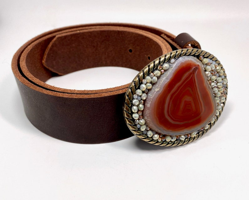 Amber Quartz Slice Belt Buckle with Crystal /& Seed Beads