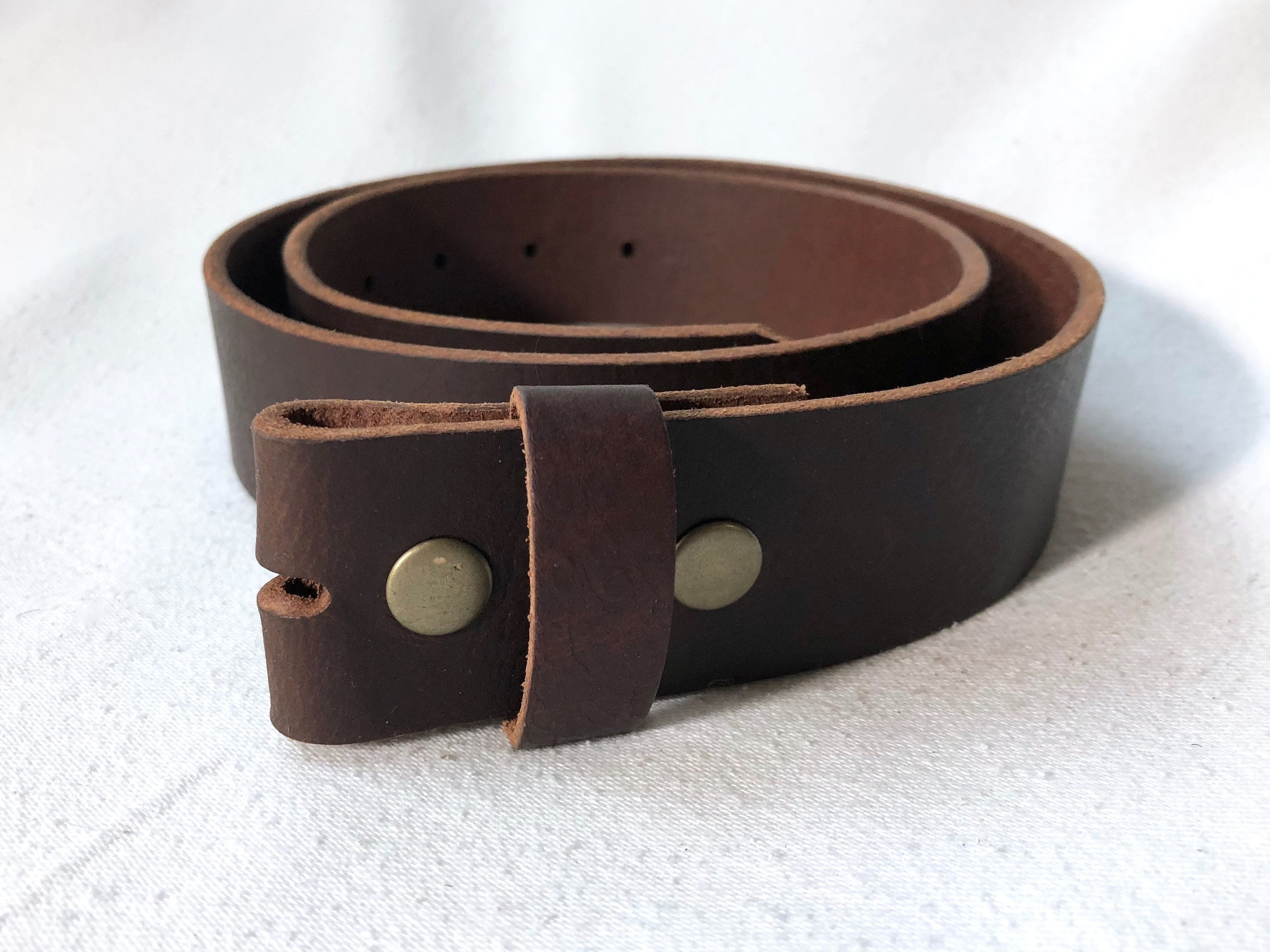 Dark Brown Full Grain Leather Belt Strap For Buckles Etsy