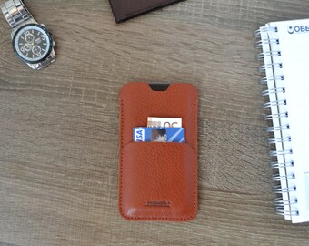 iPhone 6 case & card holder- light brown leather