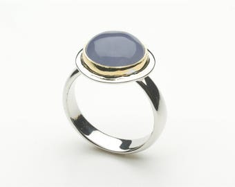 Blue Chalcedony Cabochon Gold and Silver ring - Platform Ring - non-traditional alternative - size 7 1/2 size P