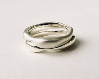 Sargasso Silver Stacking Rings - Organic Shape silver rings - Mothers Day Gift  - Alternative Wedding Ring - Non Traditional Wedding Rings