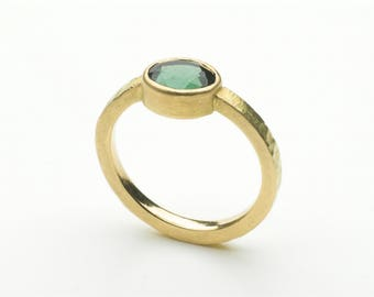 Green Tourmaline gold ring with hammered band - alternative non-traditional engagement ring- faceted tourmaline ring - Free Shipping