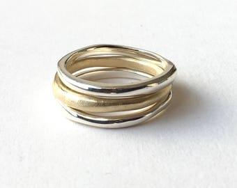 Anika Silver Stacking Rings - Organic Shape silver rings - Birthday Present  - Alternative Wedding Ring - Non Traditional Wedding Rings