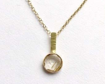 Faceted Rutilated Quartz 18 ct Gold Pendant necklace on Adjustable Chain - Christmas Gift - Birthday Present - Anniversary present - Yoga Om