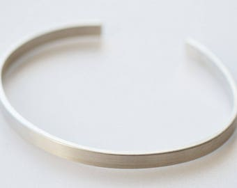 Mens Silver Open Bracelet  Cuff - rectangular sterling silver mens - Oval Shape Chunky Cuff - Gifts for Him - Matte Bangle for Men or Women