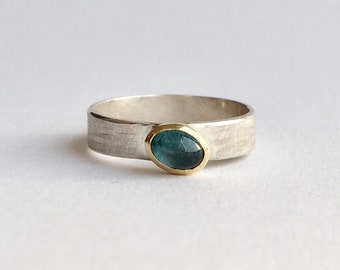 Blue Tourmaline Stacking Ring - October Tourmaline Birthstone Ring for Her - Birthday Present - Anniversary Gift - Blue Stone Ring