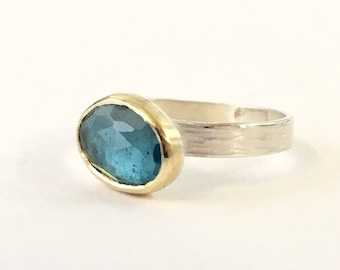 London Blue Topaz Stacking Gemstone Ring - November Birthstone Ring - Birthday Gift for Him - Gift for Her - Anniversary - London Ring