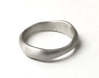 Uma Ring - Organic shape wedding ring - cast silver organic shape ring - unisex ring alternative wedding ring in gold