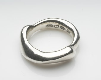 Silver Ring - Curved Zen - Great Wedding or Commitment Band available in 14 or 18 kt gold - recycled silver