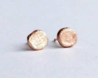 14 ct rose gold rough luxe stud earrings - gold post earrings - matte finish gold earrings - gold Viking hoard inspired - Fine jewellery