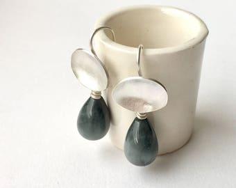 Gray stone dangle sterling silver earrings