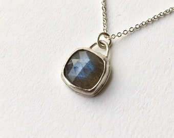 Labradorite silver pendant - rough faceted labradorite square pendant - birthday present for her - gift idea -  one of a kind stones