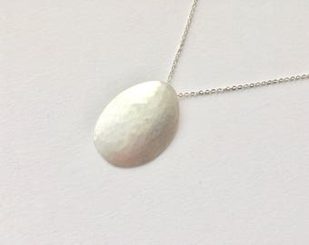 Hammered Oval Textured Silver Pendant - Stress Relieving jewellery - Christmas gift for her - Anniversary Gift - Birthday Present