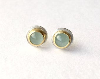 Silver and gold aquamarine earrings - aquamarine post earrings - anniversary gift - brides gift - gift for her