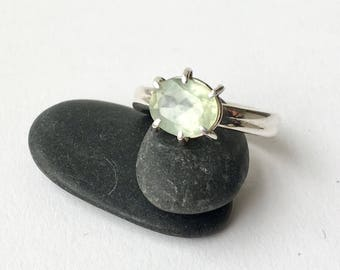 Pale Green Prehnite ring in silver - six prong silver prehite ring - alternative engagement ring - statement ring with large stone - for her