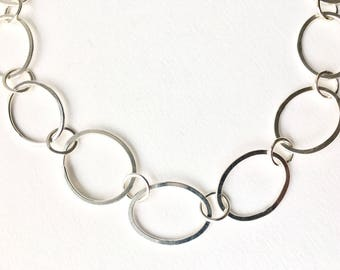 Handmade silver oval chain with oval clasp - Tori silver chain with Olga clasp - Hammered silver chain modular jewellery - matching bracelet