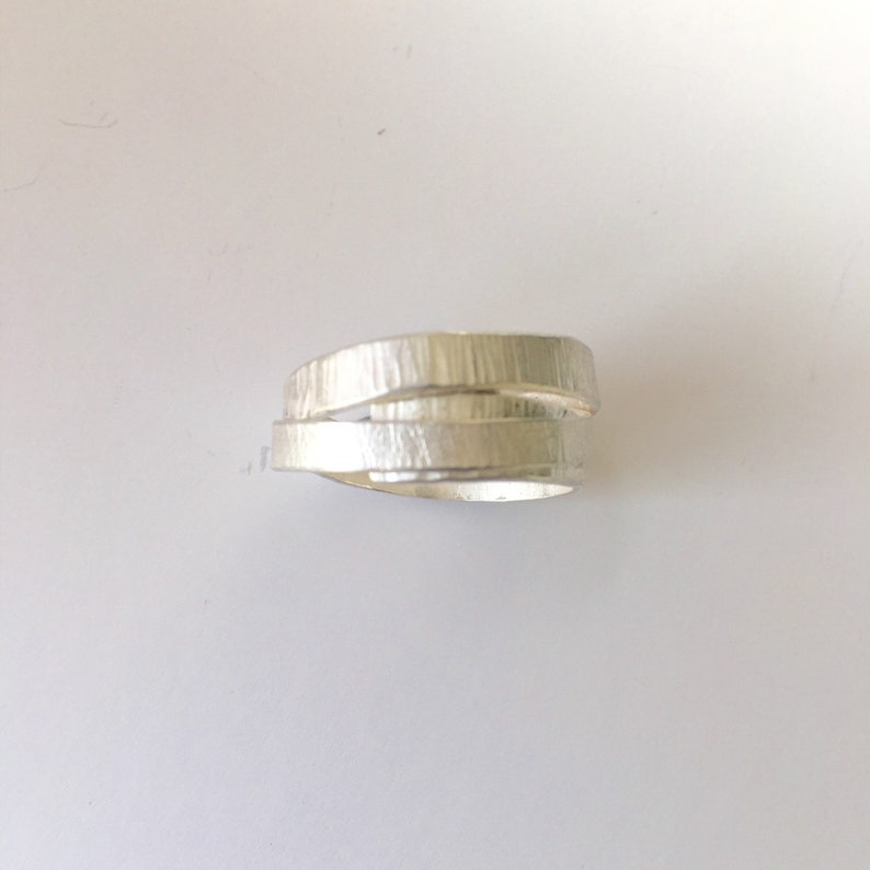 Silver wrap ring for men alternative wedding band non tradition wedding ring 2 textured silver with burnished edges